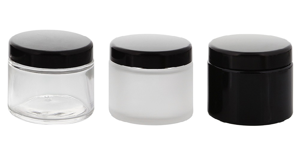 glas tiegel 100 ml schwarzer deckel leere kosmetex glas creme dose. Black Bedroom Furniture Sets. Home Design Ideas