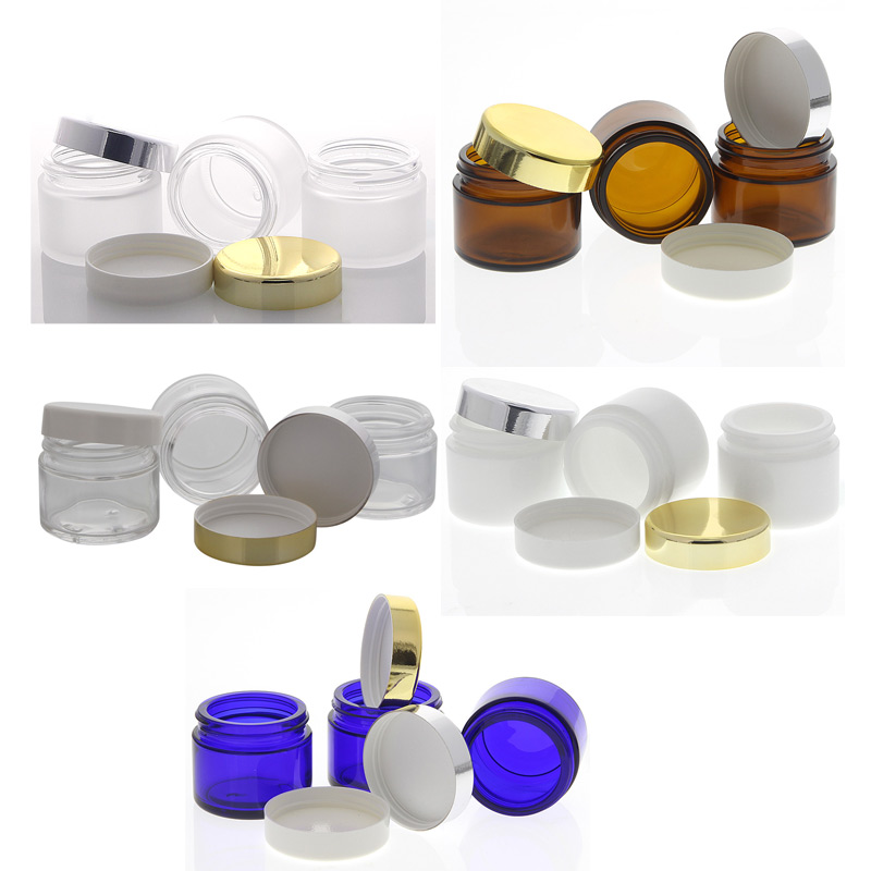 glas tiegel 50ml mit deckel leere glas dose kosmetex kosmetik dose. Black Bedroom Furniture Sets. Home Design Ideas