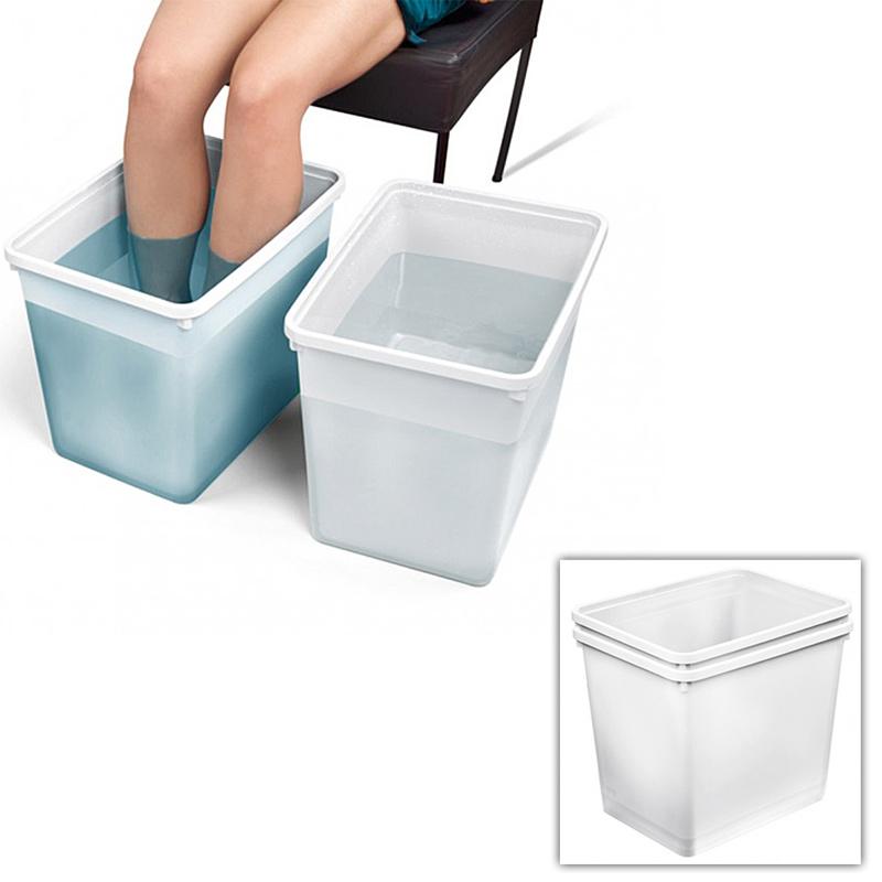 2x Fußbad-Schüssel Höhe 33cm für Waden Wechselbäder, Kosmetex Fuß-Schüssel, Fuss-Waschbecken, Fußwanne 46011