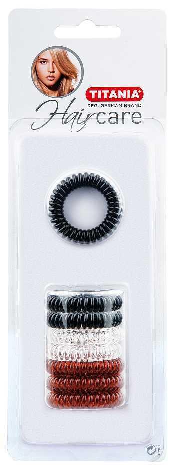 Kosmetex Haargummi Set, 8Stk. , Telefonschnur-Haargummi, Spiral-Gummi aus Kunststoff, ohne Metall 7920B