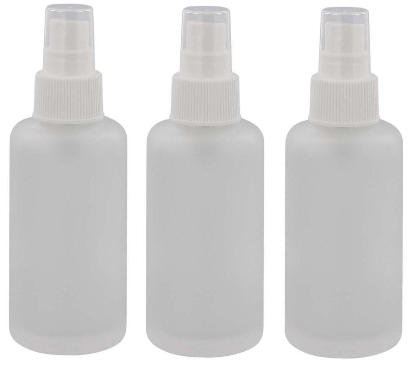 Mattglas, Zerstäuber-Flasche, m. weißem Pumpzerstäuber Kosmetex Glas-Flasche, Flakon, leer
