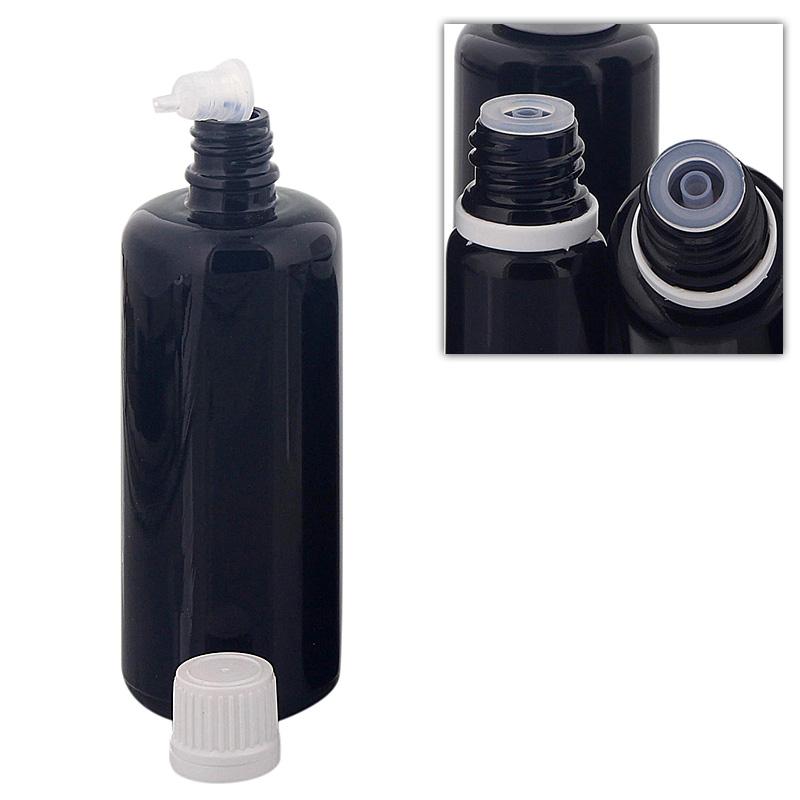 Kosmetex Violettglas Flasche für Tropfen, mit Tropfer DIN 18 Gewinde, Glasflasche Miron Tropfflasche 100ml