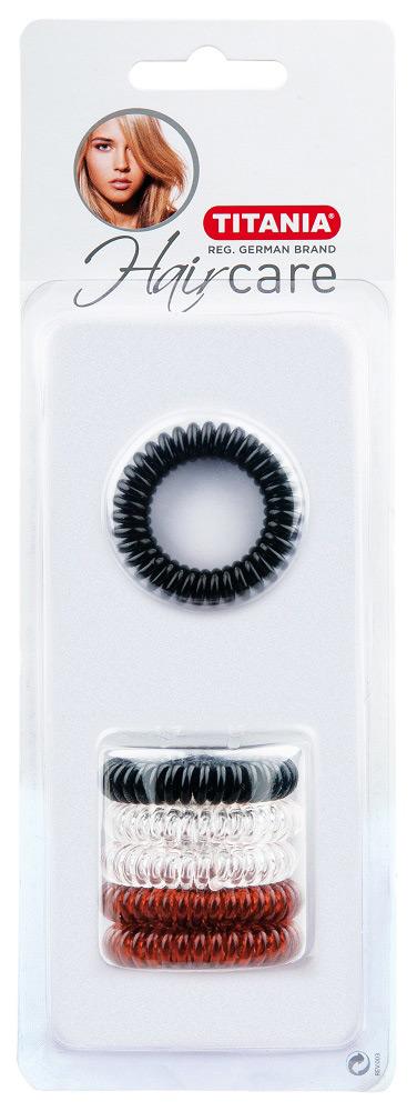 Kosmetex Haargummi Set, 6Stk. , Telefonschnur-Haargummi, Spiral-Gummi aus Kunststoff, ohne Metall 7921B