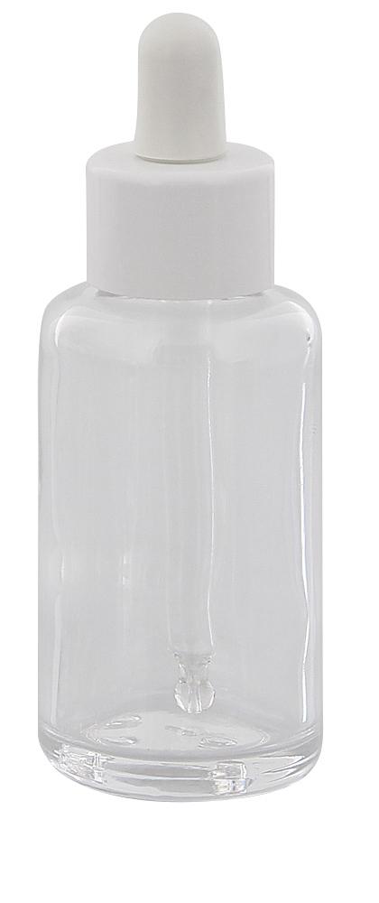 Klarglasflasche m. Pipette, Pipettenflasche m. Pipettenmontur Kosmetex Glasflasche, leer, 50 ml