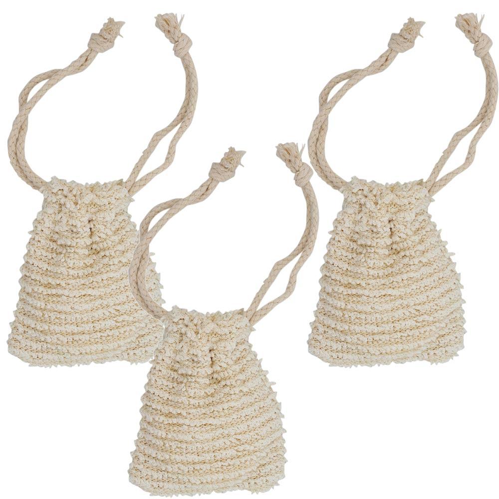 Kleines Seifensäckchen Kosmetex für Seifenreste, Seifschwamm zum Einseifen, Badeschwamm, Klein 9x8 cm