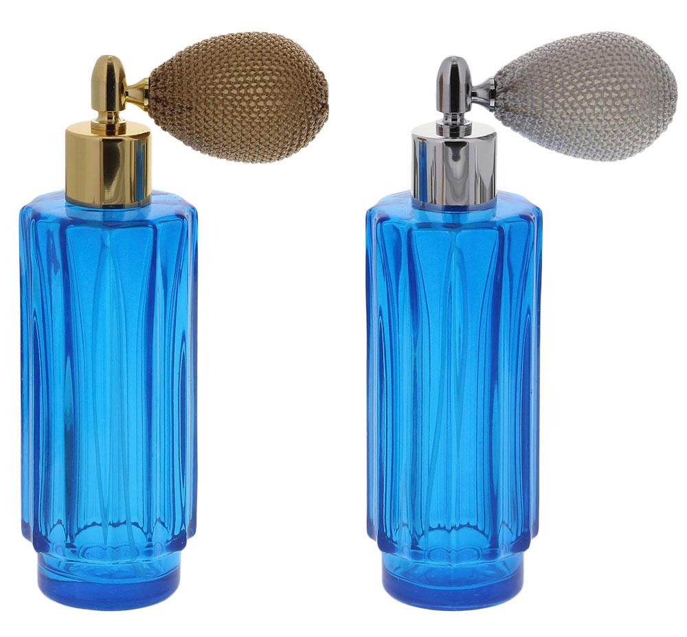 Glas-Flakon m. Ballpumpe, Zerstäuber-Pumpe 60ml, Kosmetex Parfüm-Zerstäuber, blau, gerillt
