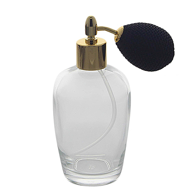Bauchiger Parfümflakon mit Ballpumpe, Glas 100ml Flakon Kosmetex für Parfum Colognes, leer