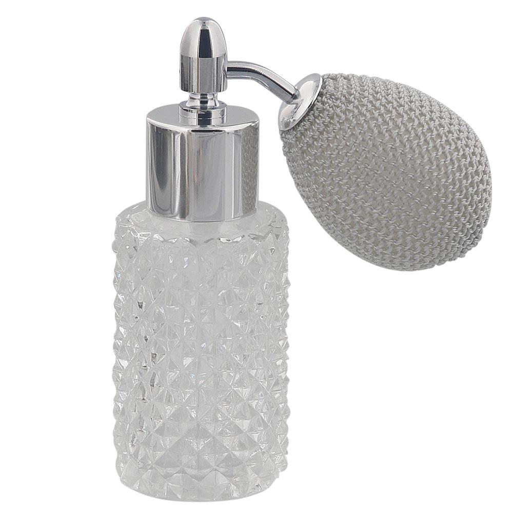 Kosmetex Glas-Flakon leer mit Kristallschliff, 25ml Parfüm-Zerstäuber mit Ballpumpe 3110