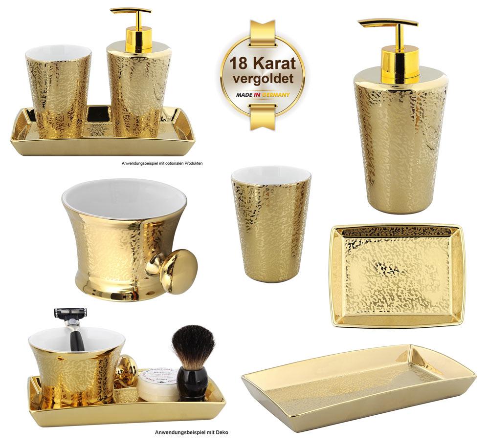 Bad Accessoires Badserie Gold Shadow Kosmetex Porzellan Gold Mit 18 Karat Vergoldet