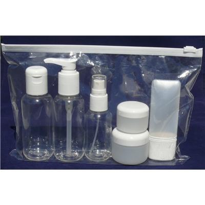 travel set kosmetex mit flaschen dosen f r fl ssigkeiten und cremes im. Black Bedroom Furniture Sets. Home Design Ideas