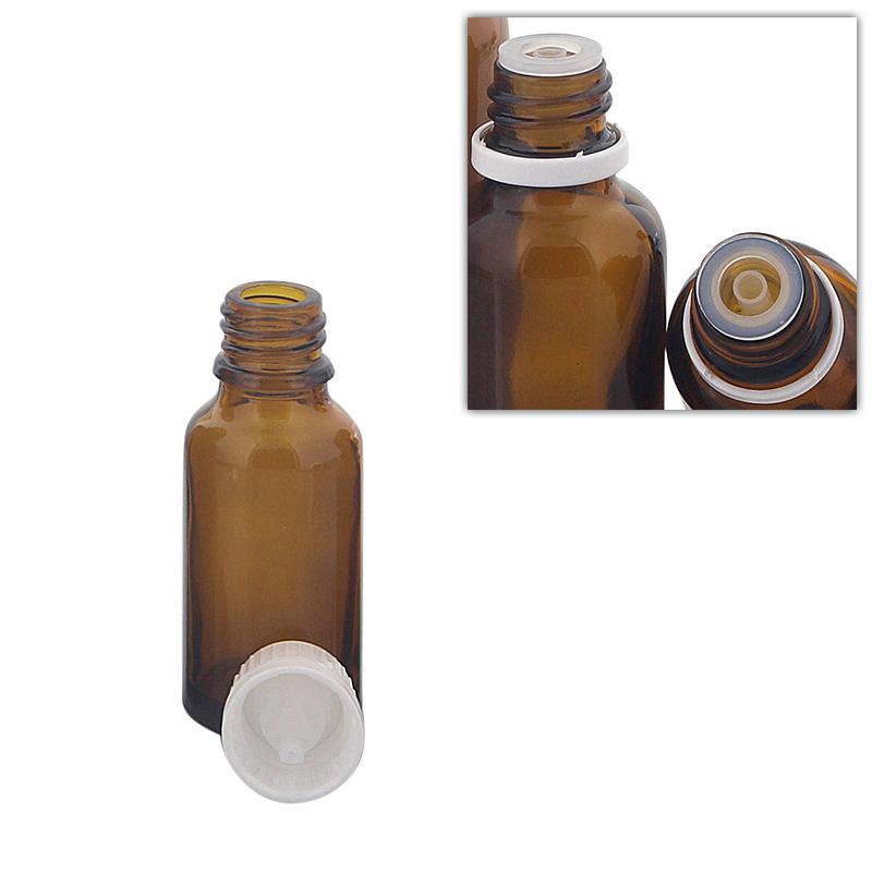 Kosmetex Braunglas Flasche mit Tropfer DIN 18 Gewinde, Tropfflasche für Tropfen, 20 ml
