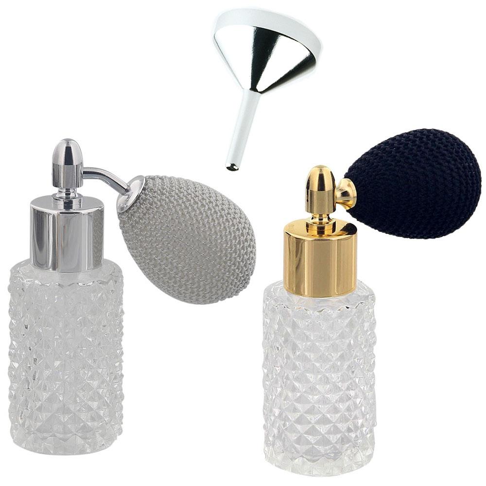 2x Kosmetex Glas-Flakon leer in Kristallschliffart mit Trichter, 25ml Parfüm-Zerstäuber mit Ballpumpe 3110