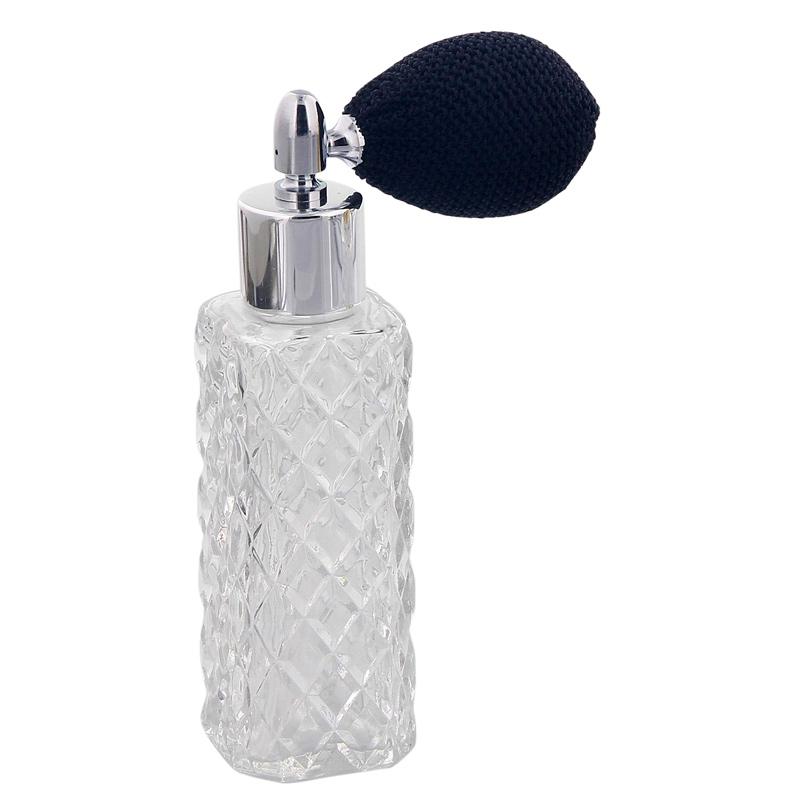 Kosmetex Glas-Flakon mit Kristallschliff-Art, 40ml Parfum, Raumduft, leer mit Ballpumpe 4017