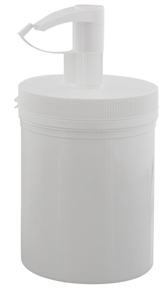 Creme-Pumpspender 1000ml/ 1 Liter, leere weiße Dose mit Kosmetex Pumper