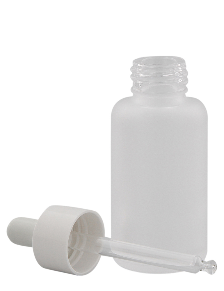 Mattglasflasche m. Pipette, Pipettenflasche m. Pipettenmontur Kosmetex Glasflasche, leer, 50 ml