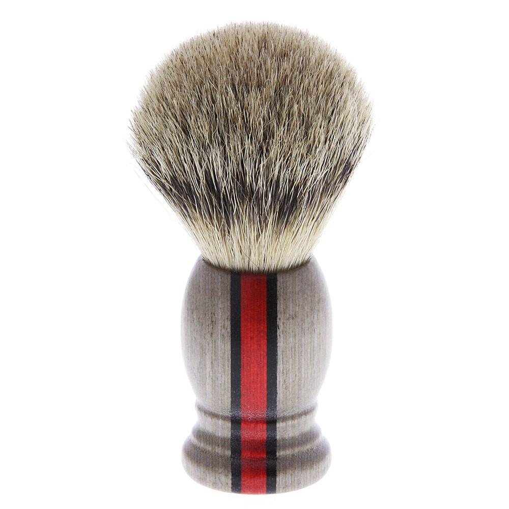 Aurawerk Rasierpinsel aus Rein Dachs Haar Silberspitz Pinsel, Holz, Rallystreifen 86095
