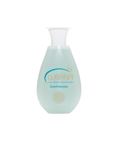 LUBANA basisches Duschmousse, pH 7,6, ohne Silikone, Duschschaum, Basen Duschgel, spendet Feuchtigkeit, 200 ml