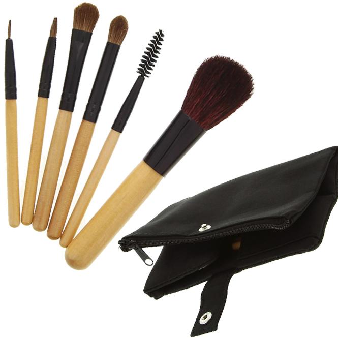 Kosmetex 6 Kosmetik Pinsel, Kosmetikpinsel Set mit Naturhaar, Naturhaarpinselset mit Tasche