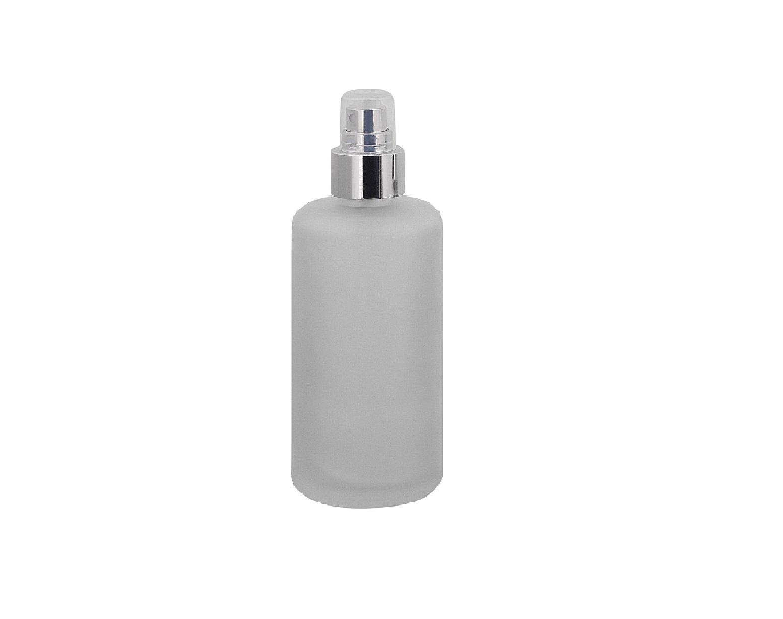 Mattglas, Zerstäuber-Flasche, m. silbernem Pumpzerstäuber Kosmetex Glas-Flasche, Flakon, leer