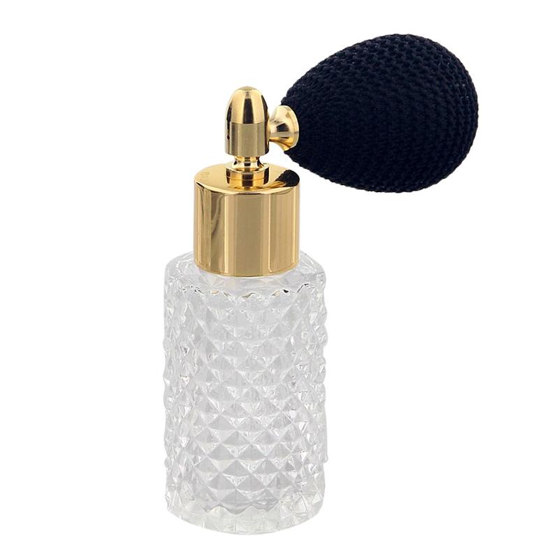 Glas-Flakon mit Kristallschliff Art, 25ml Kosmetex Parfüm-Flakon mit Ballpumpe, leer 3110