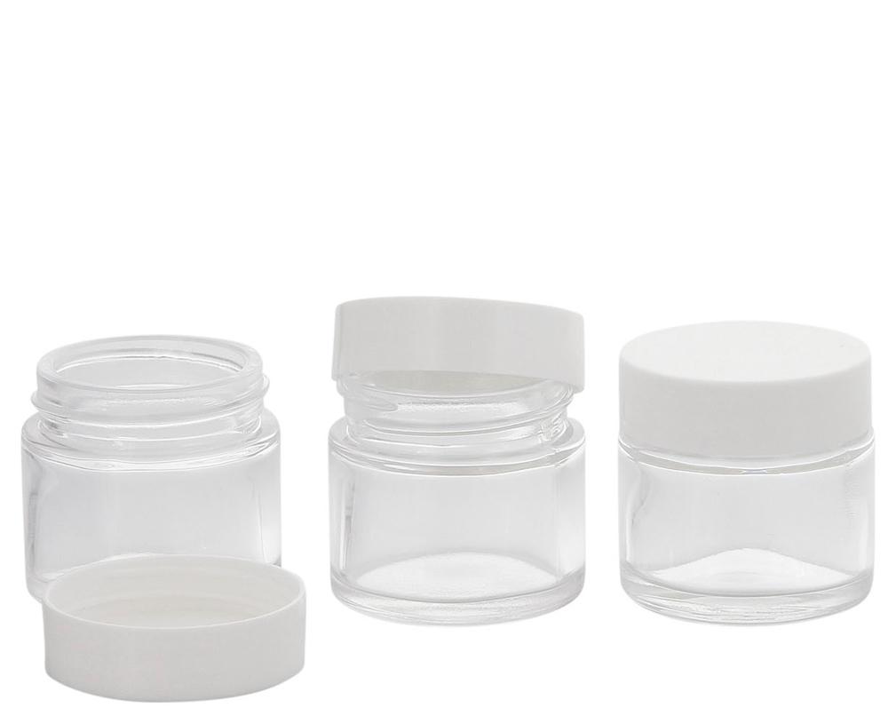 Klarer Glastiegel m. weissen Deckel, 30 ml Leerer Tiegel, Kosmetex Glas-dose