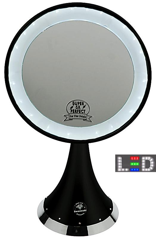 dark wave stell spiegel mit led leuchten beleuchtet kosmetex tischspiegel. Black Bedroom Furniture Sets. Home Design Ideas