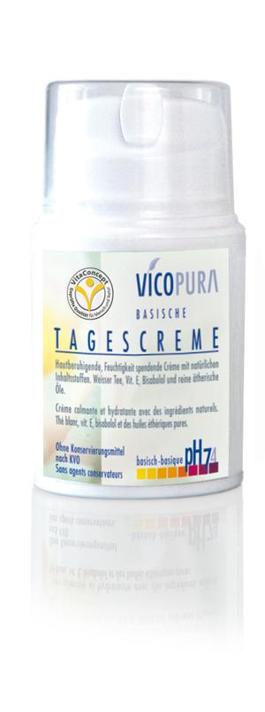 VICOPURA basische Tagescreme pH 7,5 Gesichtscreme, Basencreme, spendet Feuchtigkeit, 50 ml