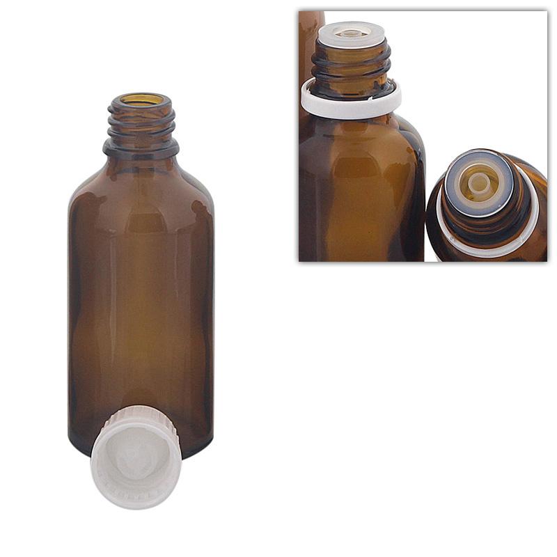 Kosmetex Braunglas Flasche mit Tropfer DIN 18 Gewinde, Tropfflasche für Tropfen, 50 ml