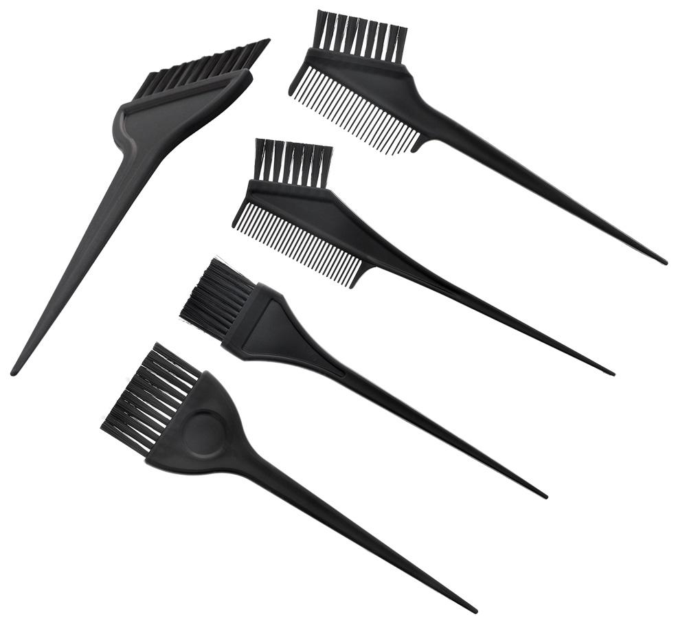 Set mit 5x Haarfärbekamm, Pinsel Kosmetex Haarfärbe-Pinsel, Pinsel u. Kamm für Farbe, Blondierung, Strähnchen färben