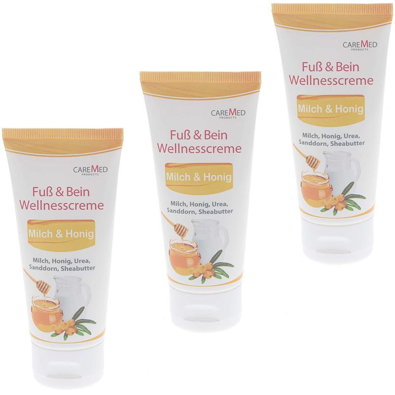 CareMed Milch Honig Wellness Fußcreme Fuß und Bein, Wellnesscreme
