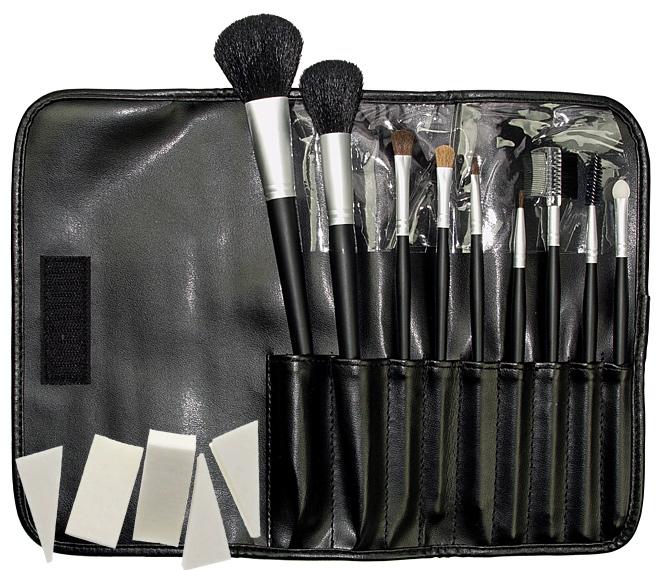 Kosmetex 9 Kosmetik Pinsel, Kosmetikpinsel Set Puderpinsel. Pinselset mit Tasche, Kunstleder