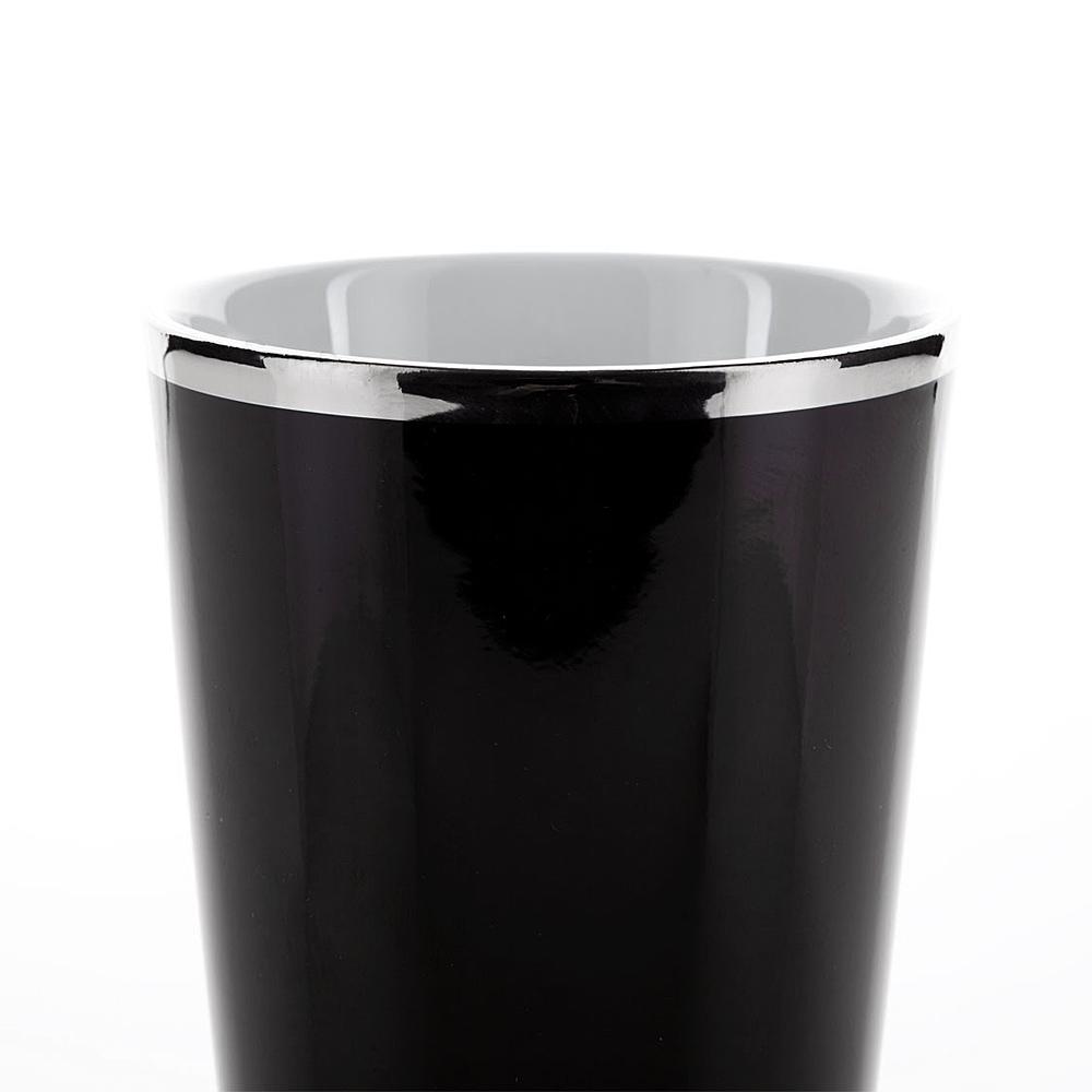 zahnputzbecher nero schwarz mit silber platinrand kosmetex bad. Black Bedroom Furniture Sets. Home Design Ideas
