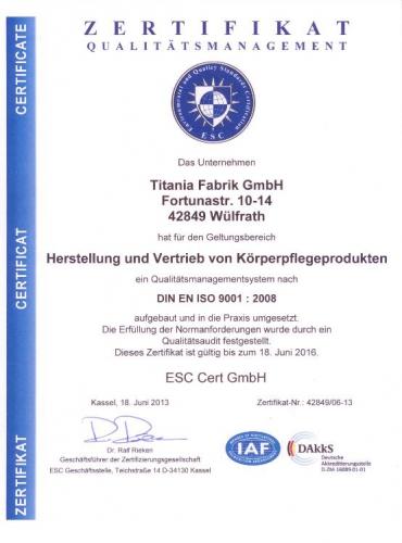 Titania Zertifikat ISO 9001:2008