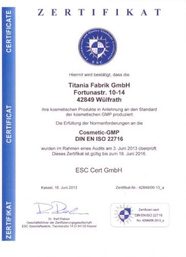 Titania Zertifikat C-GMP